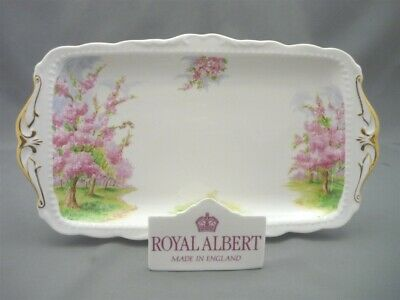 "Royal Albert England Bone ""Blossom Time"" Rectangle Sandwich Tray Gold Handles"