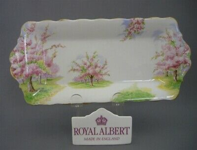 "Royal Albert England Bone China ""Blossom Time"" Rectangle Sandwich Tray"