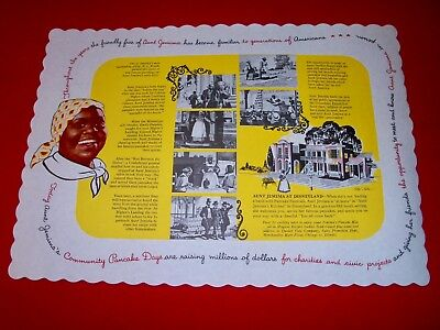 Vintage 1950s Aunt Jemima Pancakes Paper Placemat NEW OLD STOCK