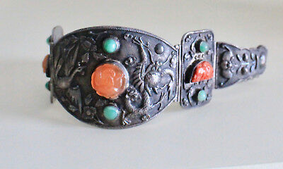 Vintage Chinese China Silver Carved Jade Tourquoise Dragon Hinged Bracelet