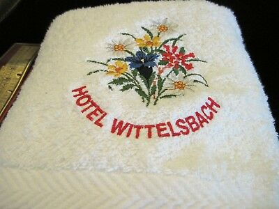 Embroidered Hotel Wittelsback 100% Cotton Souvenir Towel - Unused