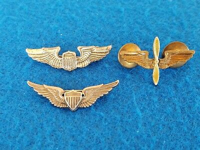 Lot 3 Wwii Ww2 Us Pilots Wings Sterling Pins Military Wings Lapel Pins Coro Cto