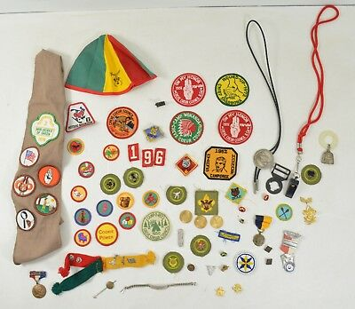 Vintage Boy Scout Stuff Patches Medals Pins 1950s 60s 70s Cub Camp