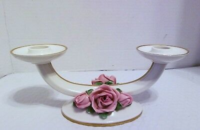 Vintage Porcelain Double Candle Holder, Marked Germany W/stamp & Numbers Exc.