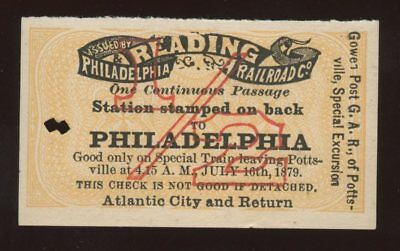 Reading Railroad Train Ticket~Gown GAR Grand Army of the Republic Excursion~1879