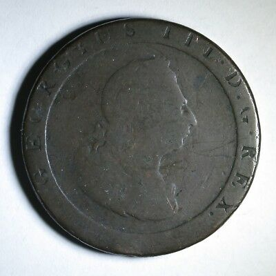Big Thick 1797 Britain George III Copper One Penny ~ 2nd Issue 'Cartwheel'