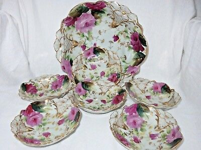 HAND PAINTED NIPPON BERRY BOWL SET ROSES & EMBOSSED FLOWER 7 Pc.