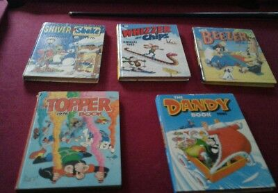 5 comic annuals,1976-1983,topper,beezer and more.