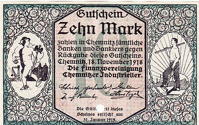10 Mark Extra Fine Cancelled Banknote From Germany/chemnitz 1919!