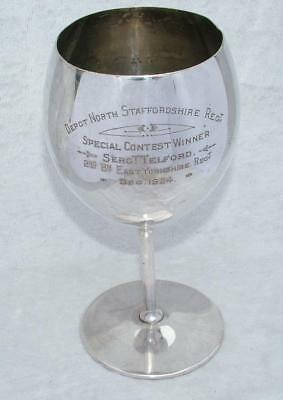 "LARGE 8"" CUP OR GOBLET 1924 STAFFS RGT DEPOT SGT. TELFORD 2nd Bn EAST YORKS RGT"
