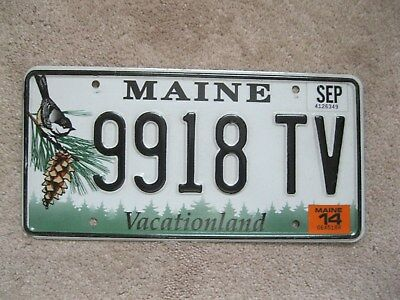 2014 Maine Chickadee License Plate 9918 TV - Vacationland
