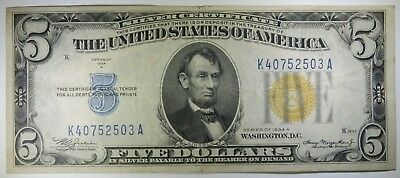 1934-A $5 Five Dollars North Africa Emergency Issue Silver Certificate