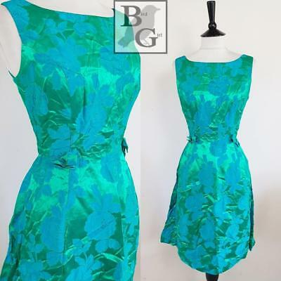 Bombshell 1960S Vintage Green & Blue Floral Jacquard Wiggle Cocktail Dress 8 Xs