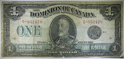 1923 $1 One Dollar Dominion of Canada Banknote