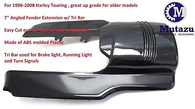 "Mutazu 7"" Black Angled Fender Extension w/ Tri Bar for Harley Touring 1996-2008"