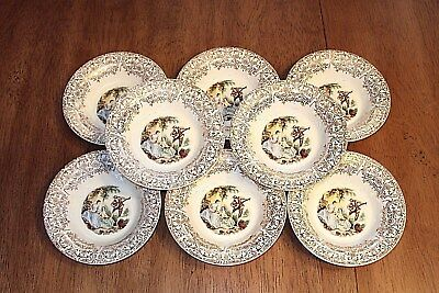 "VTG. Set of (8) American Limoges BERRY - DESSERT 5-1/2"" BOWLS !! 22 K"