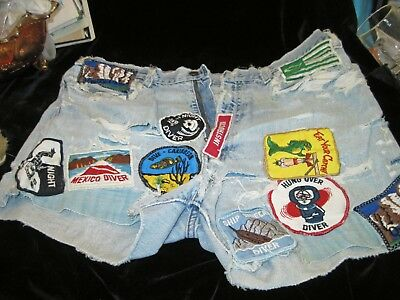 Vintage Levi Cut Off Shorts filled with Diver & Ecology Patches  1960's / 1970's