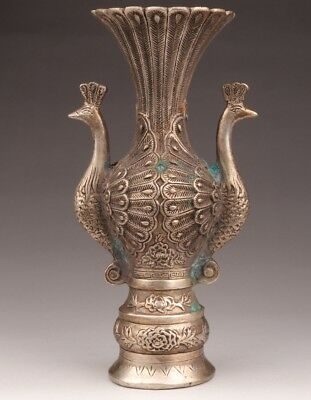 Valuable White Copper Vase Peacock Handle Sacred Decoration Old