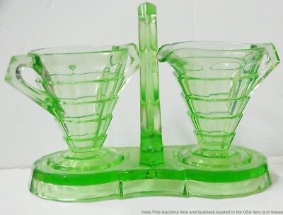 Scarce Green Indiana Tea Room Sugar Creamer w Tray 3pc Depression Glass Antique