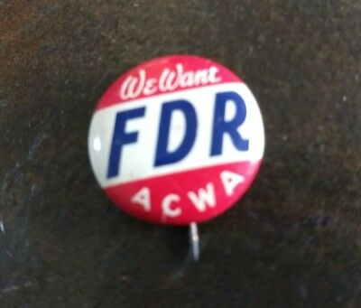 rare pin Political Pinback FRANKLIN D ROOSEVELT Button Campaign FDR Advertising