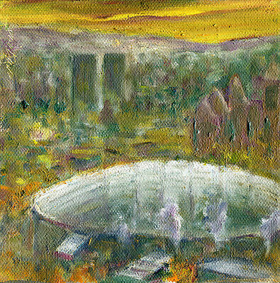 Carrier Dome, Syracuse University 6x6 in. Original oil on canvas Hall Groat Sr.