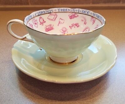 Vintage Paragon Bone China Chipppendale Green Fortune Telling Cup & Saucer