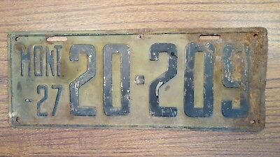 Vintage Montana 1927 License Plate #20-209 Original FREE SHIPPING