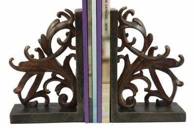 "Vintage Ornate Scroll Bookends Set Scroll Art Statue Pair 7.5""H Classical Design"
