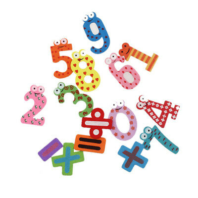 15pcs Fridge Magnets Early Learning Educational Toys Wooden Math