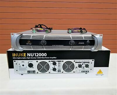 Behringer iNUKE NU12000 12000W Power Amplifier W/ (2) 4ft XLR Cables (LOT OF 3)