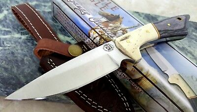 Chipaway Cutlery Bone Black Pakkawood Handle Fixed Blade Hunting Knife w Sheath