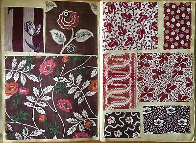 Beautiful 1847 French Printed Cotton Challis Swatch Book -  92 designs (816)