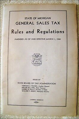 1940 State Of Michigan General Sales Tax-RULES and REGULATIONS-Full Of INFO