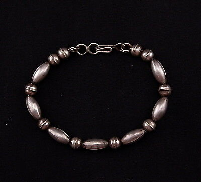 "Old Pawn Navajo Sterling silver Melon Round Bench Bead Bracelet. 7"" Ca. 1960"