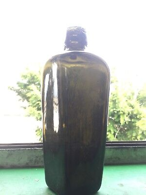 Antique applied top case gin bottle around 8 inches tall