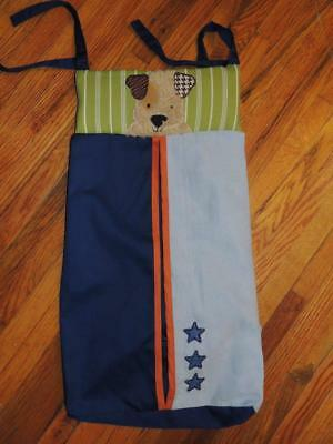 Lambs & Ivy Bow Wow Buddies Diaper Stacker Puppy Dog Green Blue Faux Suade