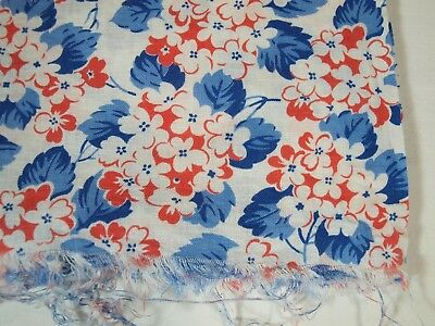 Vintage BLUE, ORANGE & WHITE Flowers on WHITE Background Opened Feed Sack