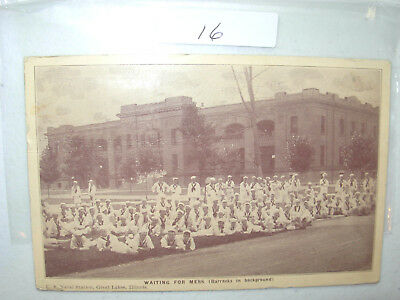 Postcard Navy  Waiting For Mess Barracks In Background Chicago Ill.1918  #16