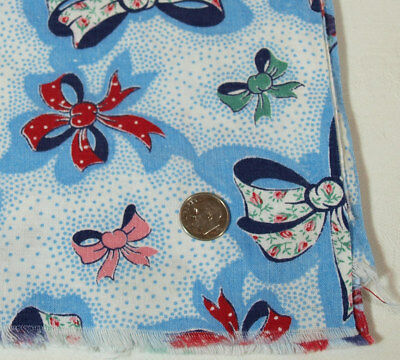Vtg RED, GREEN, PINK & WHITE Bows on BLUE & WHITE Background Partial Feed Sack