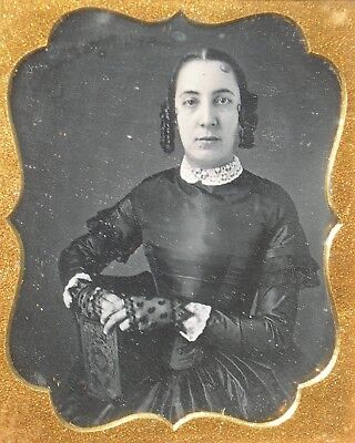 Daguerreotype Young Woman in Floral Bookstyle Case