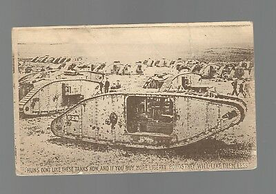 1918 Wwi Post Card Of Tank W/censor Stamp