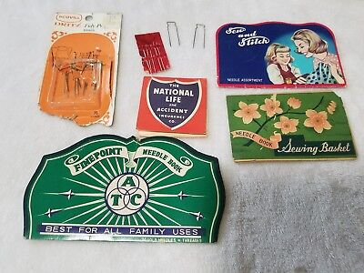 Lot of 4 vintage sewing needle books & more ca 1950s advertising & collectible