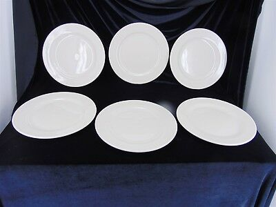 """6 Dinner PLATES 12"""" By CAC China Rolled Edge Diner Stoneware American Beige"""