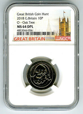 2018 10P Great Britain ' O '- Oak Tree Ngc Ms64 Dpl British Coin Hunt Proof Like