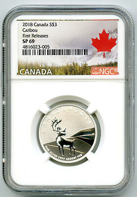 2018 $3 1/4+ Oz Canada .9999 Fine Silver Caribou Ngc Sp69 First Releases Rare