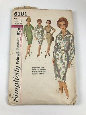 Vintage Simplicity #5191 Pattern For Misses Size 12 One Piece Dress