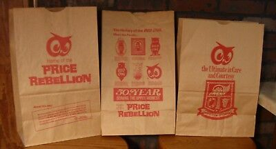 Lot Of 3 Different Vintage Red Owl Grocery Store Advertising Sacks