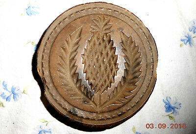 AAFA ANTIQUE 1800s DEEP HAND CARVED BUTTER PRESS MOLD WELCOME PINEAPPLE #2 of 2