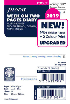 Filofax Refill - Week to View - Pocket Size - 5 Languages - 2019 - C6822719