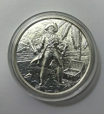 2oz Fine Silver Round Privateer Captain .9999 Ultra High Relief